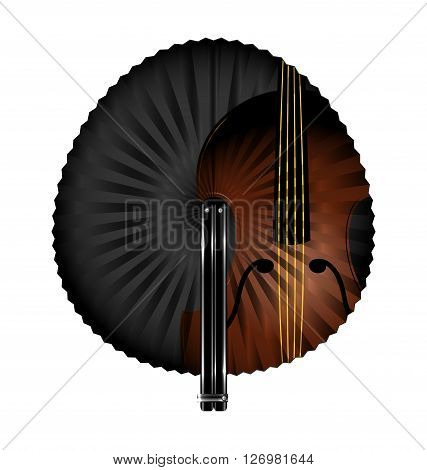 dark background and the white fan with abstract string instrument