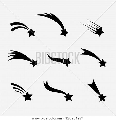 Falling stars vector set. Shooting stars isolated from background. Icons of meteorites and comets. Falling stars with different tails. Shooting stars black silhouettes.
