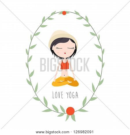 Vector Flat Illustration of a Girl in Lotus Pose Doing Yoga.
