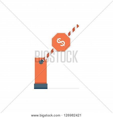 Conceptual Illustration of a Parking Barrier Depicting that Some Person Does not Have Money Barriers Now to Buy or Do Something.