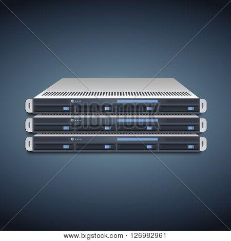 Vector Flat Illustration of a Three Server Units.