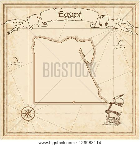 Egypt Old Treasure Map. Sepia Engraved Template Of Pirate Map. Stylized Pirate Map On Vintage Paper.