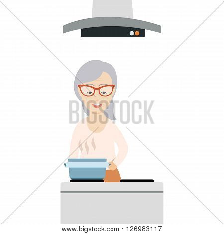 Vector Flat Illustration of an Old Woman Cooking in the Kitchen.