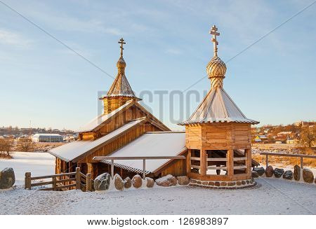 Wooden chapel of holy spring in an old provincial town of Borovsk