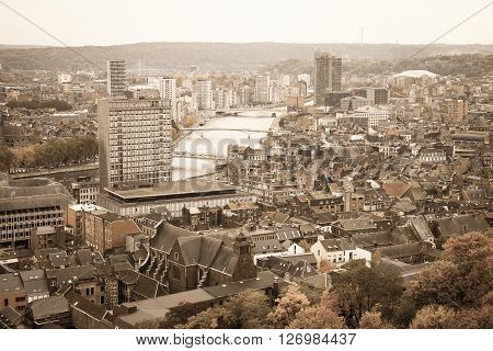 A cityscape of Liege or Luik in the Walloon part of Belgium