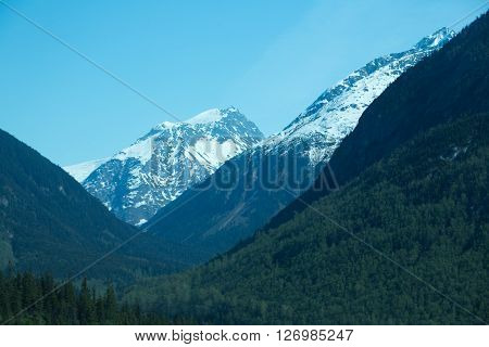 Snowcapped mountain peaks in the far north