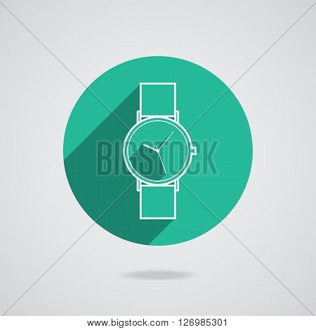 Flat long shadow green icon white wristwatch for web.