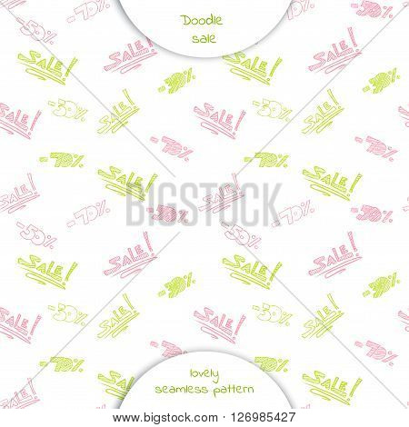 Seamless pattern with the words sale and discount percentage in Doodle style. Hand drawn vector illustration isolated on white background.