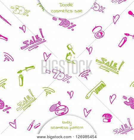 Seamless pattern of Doodle cosmetics: mascara nail Polish lipstick comb brush perfume with the words sale and discount percentage. Hand drawn vector illustration isolated on white background.