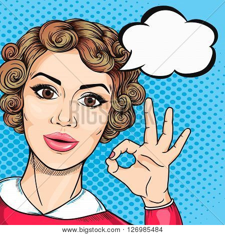 Joyful woman showing OK hand sign in pop art retro comic style. Retro woman with speech bubble and Okay gesture all right.