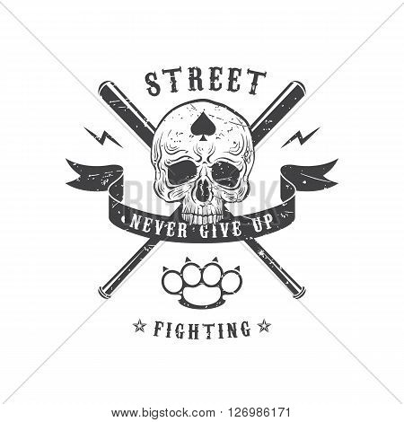 Monochrome vector illustration street fighting club emblem. The skull on a background with crossed baseball bats and brass knuckles. Ribbon with the inscription: Never give up.