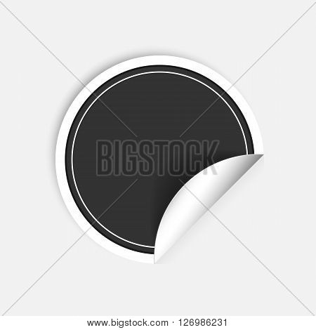 Black round stickers with curled edge isolated on white background