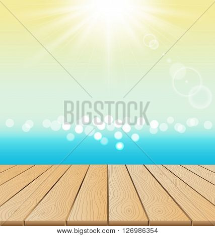 Wood Floor On Beach And sun shine for summer concept