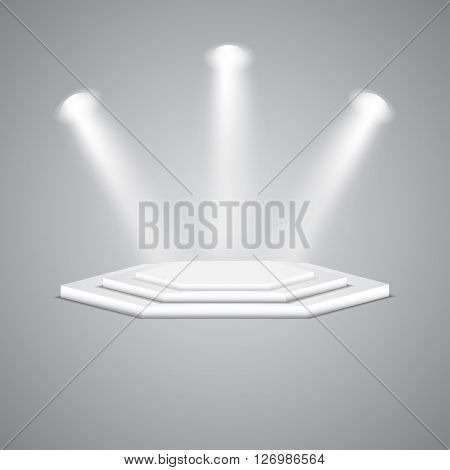 Multi-faceted podium with spotlights. Empty multi-faceted scene with floodlights. White multi-faceted stage with projectors. Polygonal empty white podium with spotlights. Vector podium.