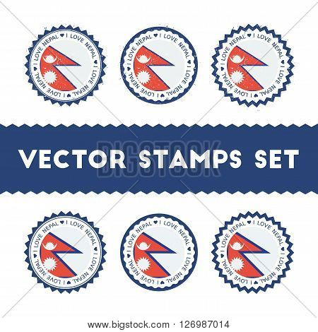 I Love Nepal Vector Stamps Set. Retro Patriotic Country Flag Badges. National Flags Vintage Round Si