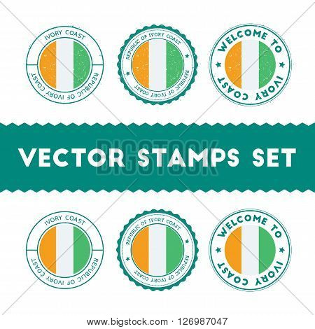 Ivorian Flag Rubber Stamps Set. National Flags Grunge Stamps. Country Round Badges Collection.