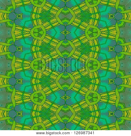 Abstract geometric seamless background, drawing. Extensive diamond pattern with various elements in yellow, orange, bright green, gray and turquoise and wiggly lines.