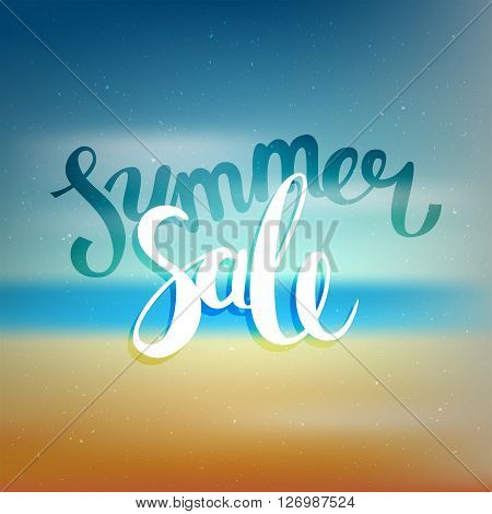 Hello summer, summer sale. Poster on beach background. Handdrawn, lettering design for invitation and greeting card. Vector Illustration.