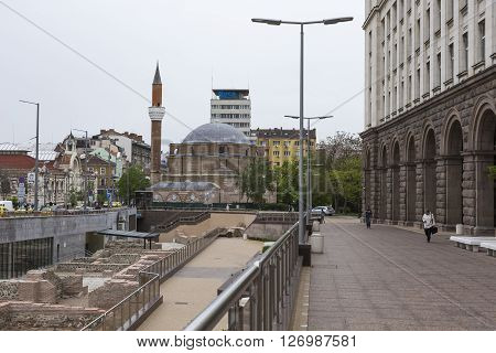 SOFIA BULGARIA - APRIL 14 2016: Archaeological excavation of the roman town Serdica in downtown of Sofia