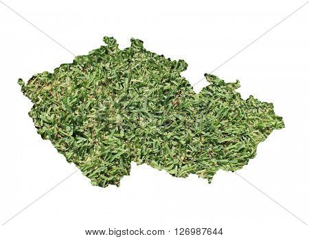 Map of Czech Republic filled with green grass, environmental and ecological concept.