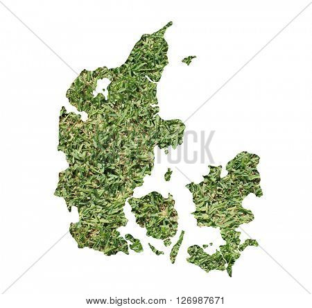 Map of Denmark filled with green grass, environmental and ecological concept.