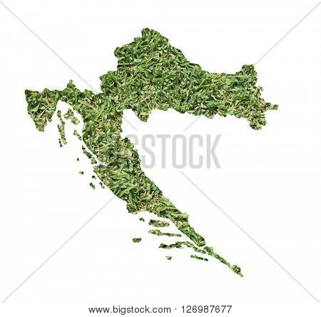 Map of Croatia filled with green grass, environmental and ecological concept.