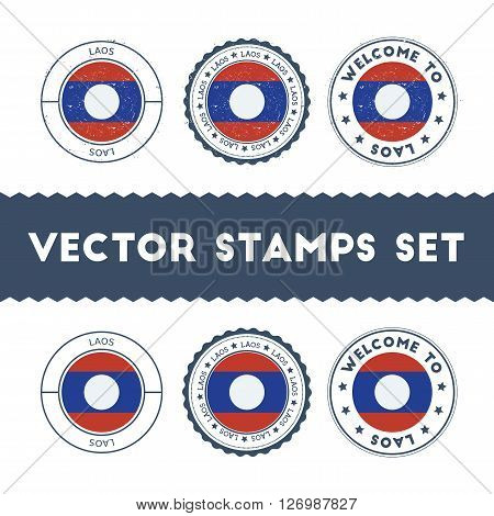 Laotian Flag Rubber Stamps Set. National Flags Grunge Stamps. Country Round Badges Collection.