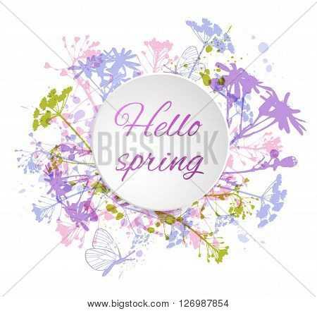 Abstract vector floral background with flowers and butterflies. Round abstract banner with flowers.