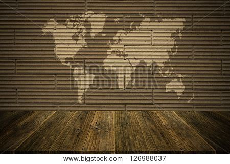 Wall Texture Surface Vintage Style With Wood Terrace And World Map