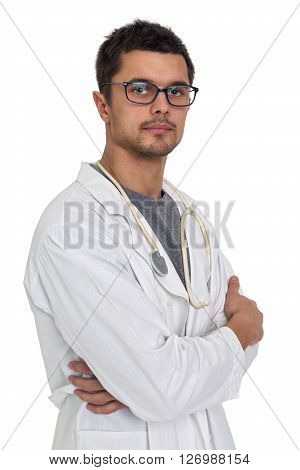 Portrait of a young doctor wearing glasses isolated on white background