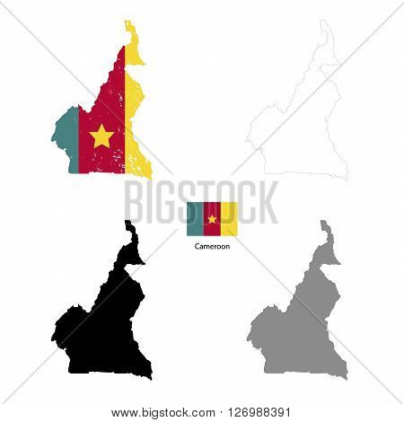 Cameroon country black silhouette and with flag on background isolated on white