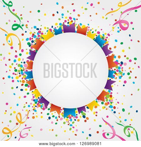White background with many colorful flags and confetti around a circular area