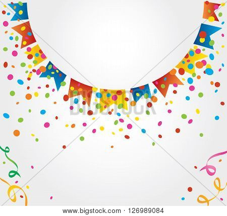 White background with many colorful flags and confetti around a circular white area
