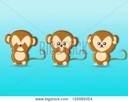 Cute three wise monkeys cartoon background : See No Evil Hear No Evil Speak No Evil