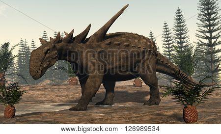 Sauropelta dinosaur among cycadeoidea plants and calamite trees - 3D render