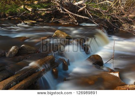 Small stream in the forest in slow motion