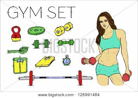 Fitness woman in training. Gym set, Vector stock illustration