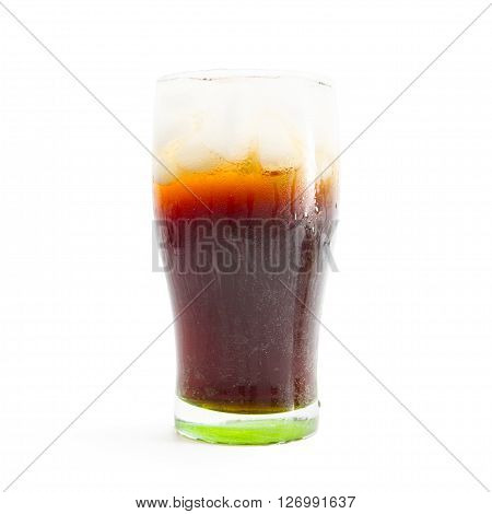 Cola Glass With Ice Cubes On A White