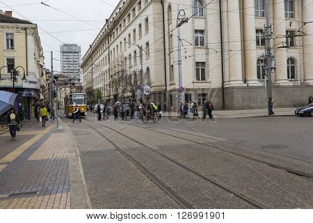 Sofia, Bulgaria - April 14, 2016: Downtown Of Sofia, Is The Largest City Of Bulgaria With Around 1.3