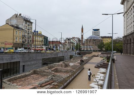 Sofia, Bulgaria - April 14, 2016: Archaeological Excavation Of The Roman Town Serdica In Downtown Of