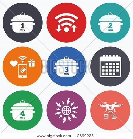 Wifi, mobile payments and drones icons. Cooking pan icons. Boil 1, 2, 3 and 4 minutes signs. Stew food symbol. Calendar symbol.