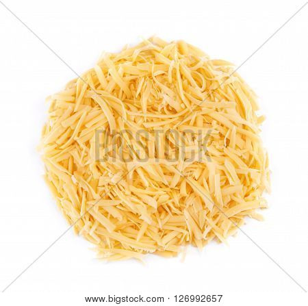 Grated cheese isolated on a white background