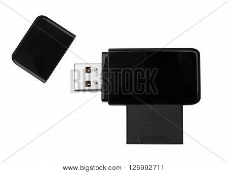 Black USB memory stick isolated on white background