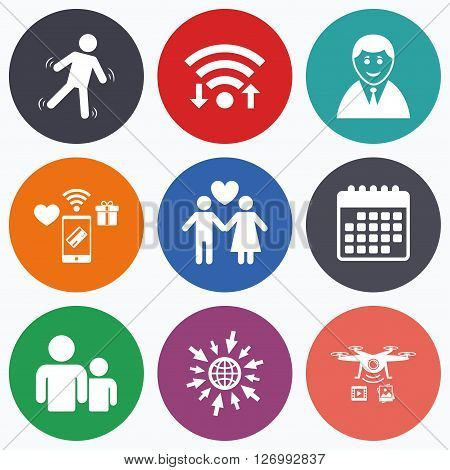 Wifi, mobile payments and drones icons. Businessman person icon. Group of people symbol. Man love Woman or Lovers sign. Caution slippery. Calendar symbol.