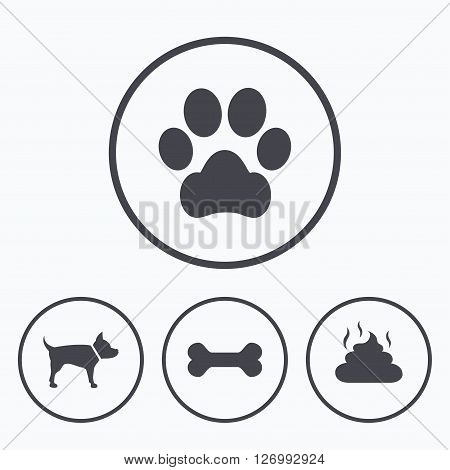Pets icons. Dog paw and feces signs. Clean up after pets. Pets food. Icons in circles.