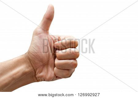 Hand with thumb up isolated on white background. ** Note: Visible grain at 100%, best at smaller sizes