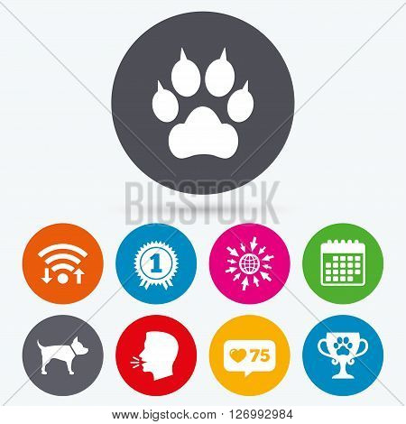 Wifi, like counter and calendar icons. Pets icons. Cat paw with clutches sign. Winner cup and medal symbol. Dog silhouette. Human talk, go to web.