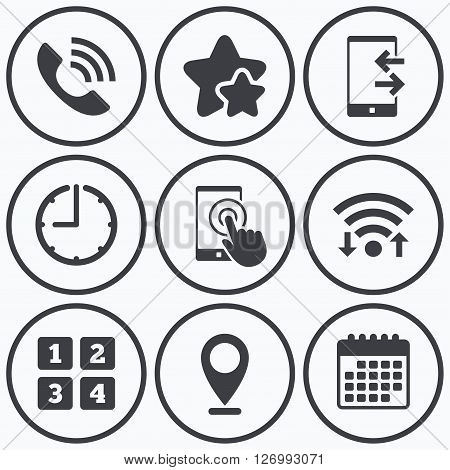 Clock, wifi and stars icons. Phone icons. Touch screen smartphone sign. Call center support symbol. Cellphone keyboard symbol. Incoming and outcoming calls. Calendar symbol.