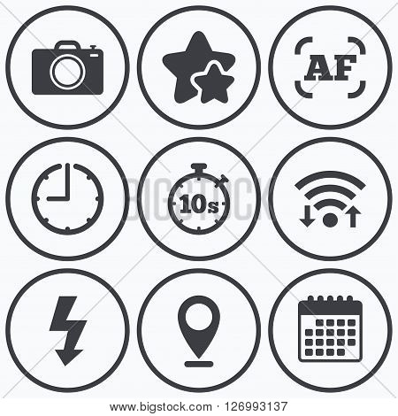 Clock, wifi and stars icons. Photo camera icon. Flash light and autofocus AF symbols. Stopwatch timer 10 seconds sign. Calendar symbol.