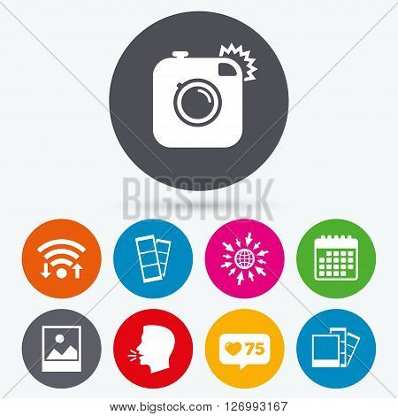 Wifi, like counter and calendar icons. Hipster photo camera icon. Flash light symbol. Photo booth strips sign. Landscape photo frame. Human talk, go to web.